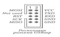 Нажмите на изображение для увеличения.  Название:USBasp ISP6 pinout.png Просмотров:133 Размер:14.0 Кб ID:339227