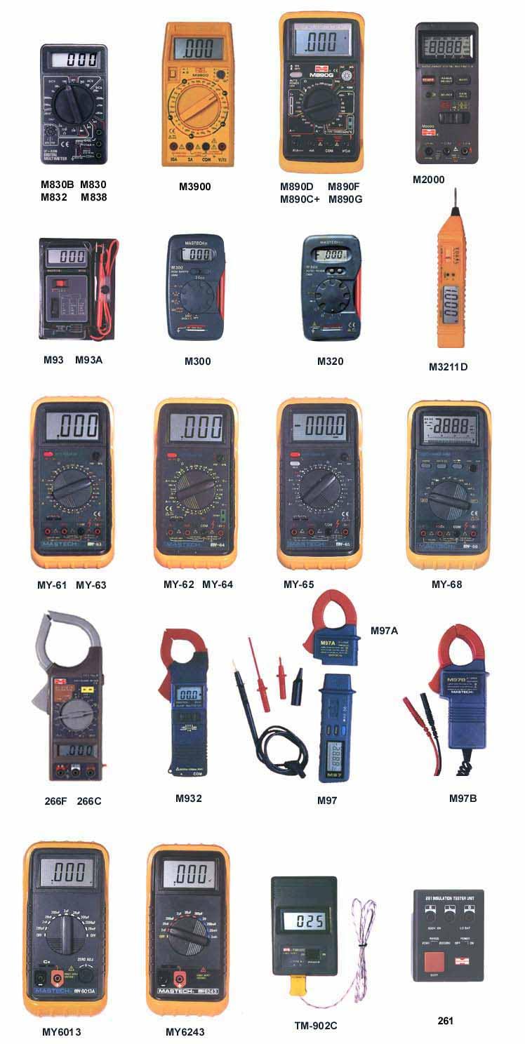 Манометры,термометры,мультиметры,указ. напряжения и другие приборы.