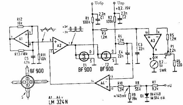 Рис. 3. Практическая схема автоматически работающего КСВ-метра.