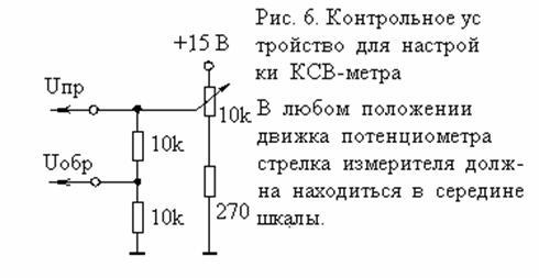 Правильность функционирования автоматической индикации КСВ проверяют, присоединив входы КСВ-метра к проверочной схеме...