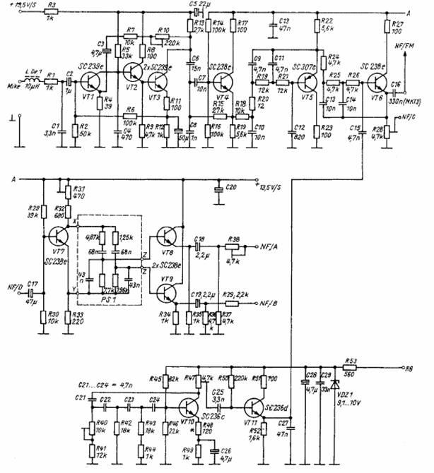 Рис. 2. Блок формирования ЗЧ сигнала передатчика (NF-AB).  Схема принципиальная электрическая.